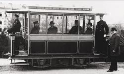 Britains 1st Electric Tram starts